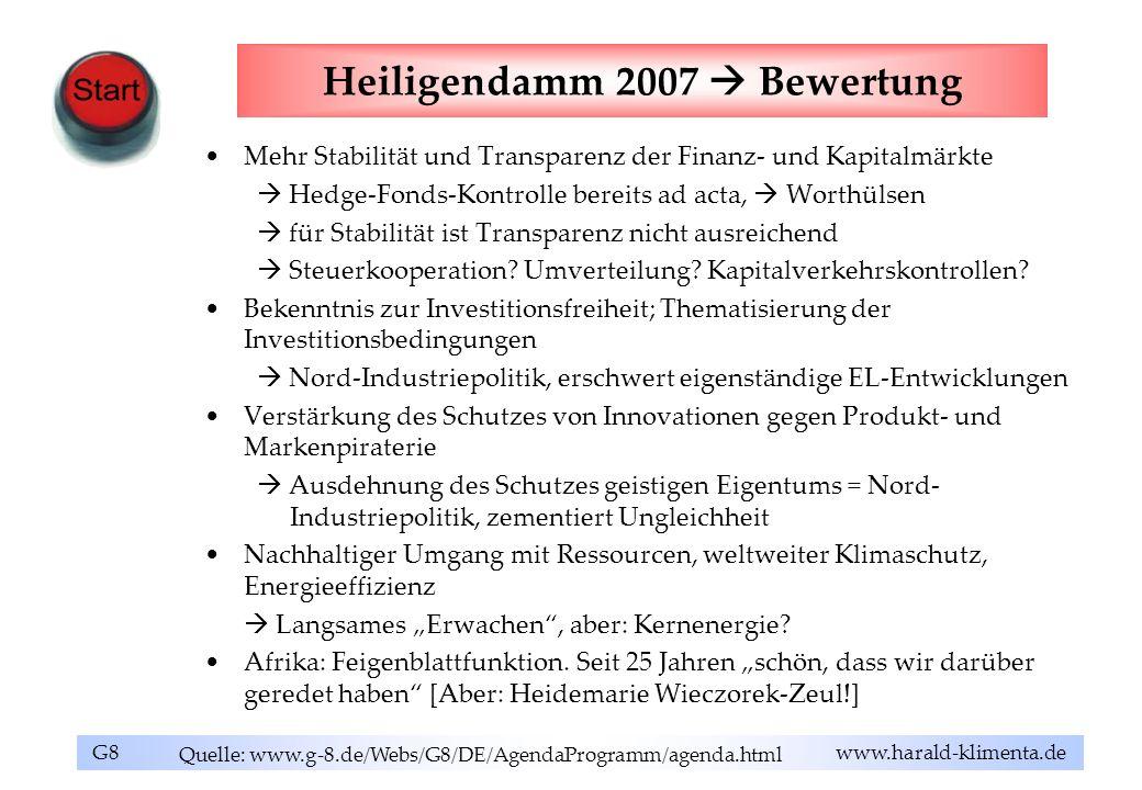 G8 www.harald-klimenta.de Heiligendamm 2007 Bewertung Mehr Stabilität und Transparenz der Finanz- und Kapitalmärkte Hedge-Fonds-Kontrolle bereits ad a