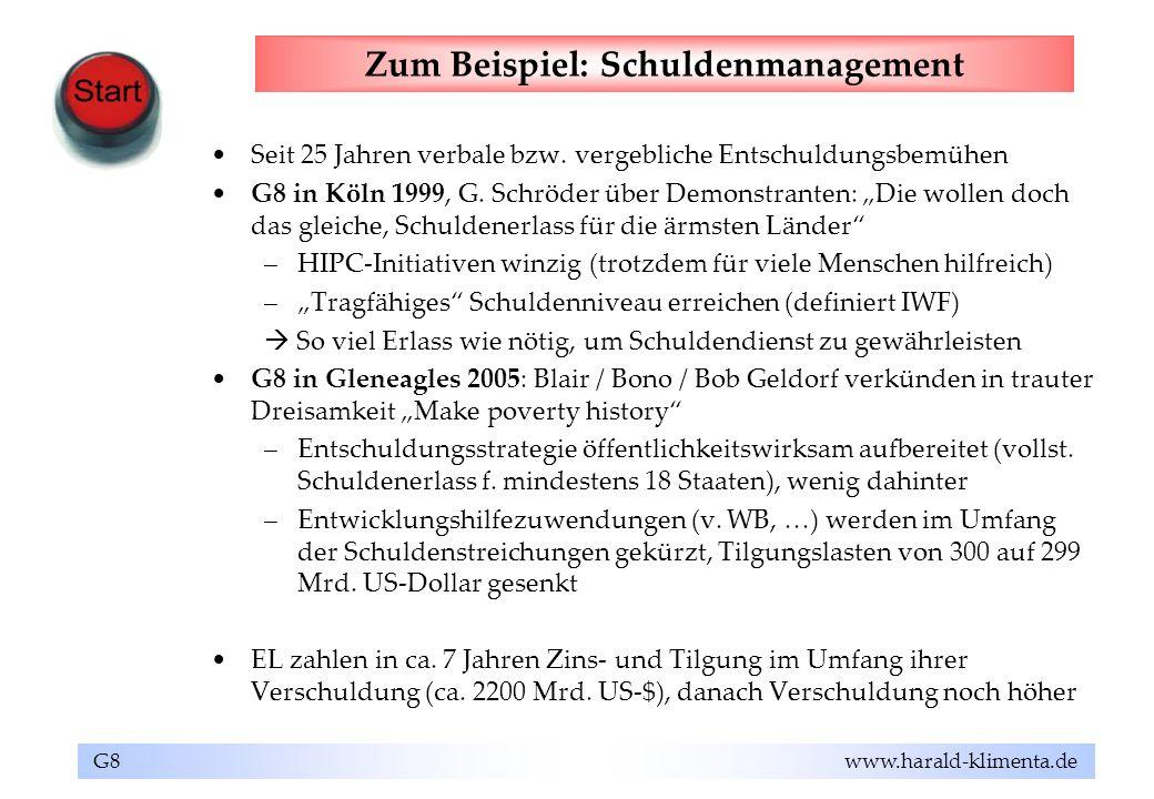 G8 www.harald-klimenta.de Zum Beispiel: Schuldenmanagement Seit 25 Jahren verbale bzw. vergebliche Entschuldungsbemühen G8 in Köln 1999, G. Schröder ü