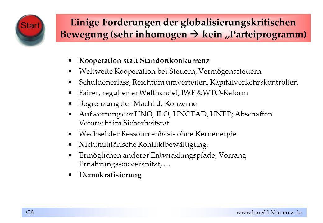 G8 www.harald-klimenta.de Einige Forderungen der globalisierungskritischen Bewegung (sehr inhomogen kein Parteiprogramm) Kooperation statt Standortkon