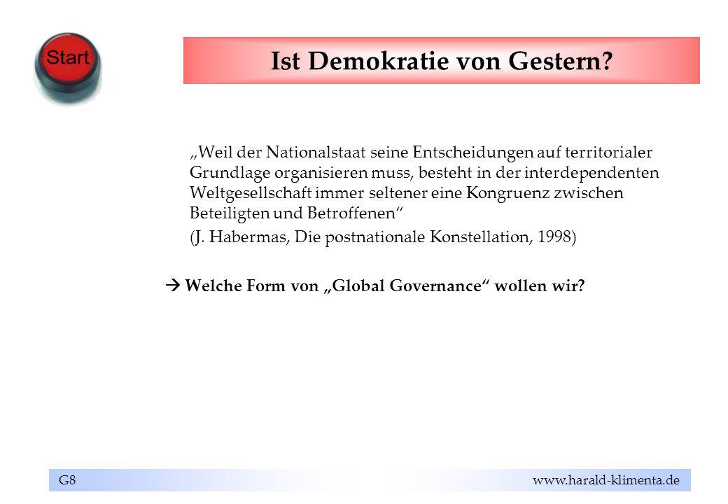 G8 www.harald-klimenta.de Ist Demokratie von Gestern? Weil der Nationalstaat seine Entscheidungen auf territorialer Grundlage organisieren muss, beste