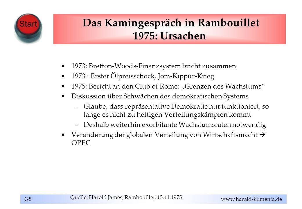 G8 www.harald-klimenta.de Das Kamingespräch in Rambouillet 1975: Ursachen 1973: Bretton-Woods-Finanzsystem bricht zusammen 1973 : Erster Ölpreisschock
