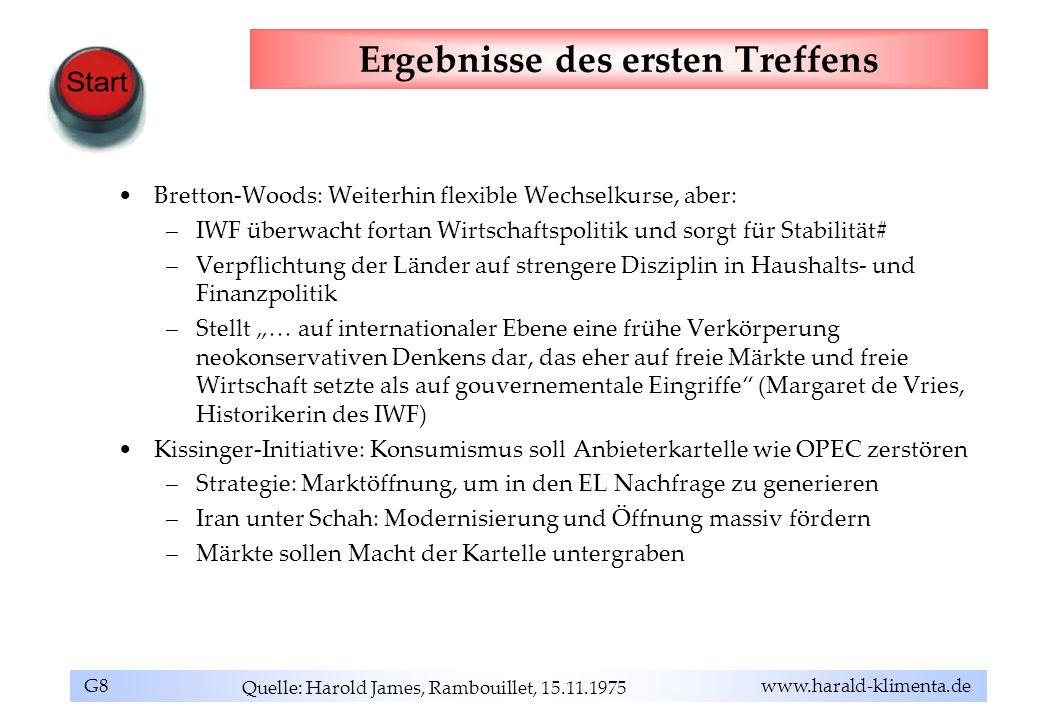 G8 www.harald-klimenta.de Ergebnisse des ersten Treffens Bretton-Woods: Weiterhin flexible Wechselkurse, aber: –IWF überwacht fortan Wirtschaftspoliti