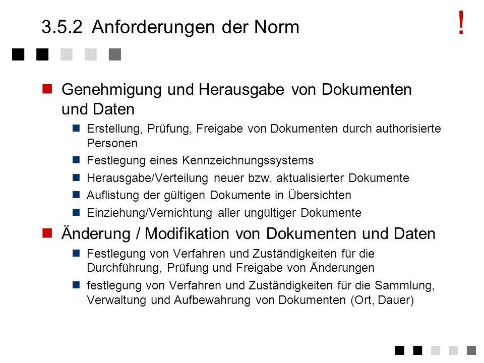 3.5.1Ziel und Inhalt Überblick und vollständigen, korrekten Einblick in alle Dokumente und Daten Festlegung von Verfahren, die sicherstellen, dass Dok