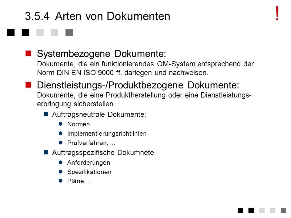 3.5.3Abgeleitete Tätigkeiten 1.Auflistung und Sammlung aller zu lenkenden Vorgabedokumente in den einzelnen Bereichen. 2.Prüfung und Genehmigung der f