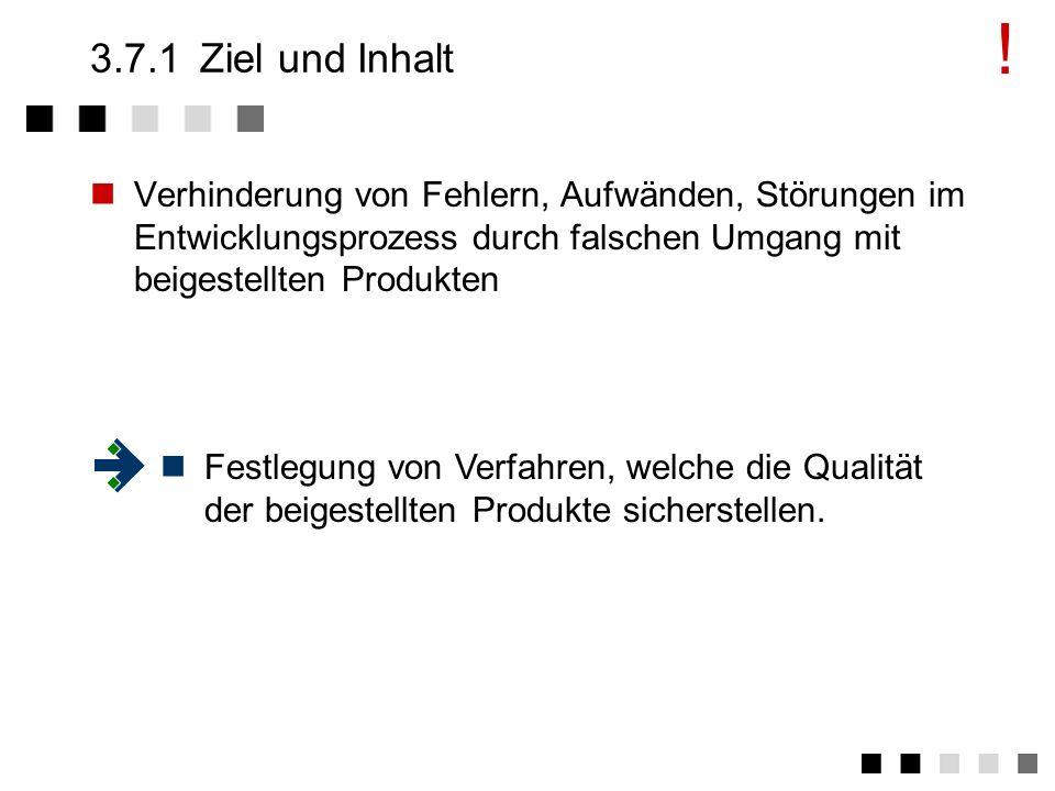 3.7Beistellungen Ziel und Inhalt Anforderungen der Norm Tätigkeiten Beispiel I Beispiel II