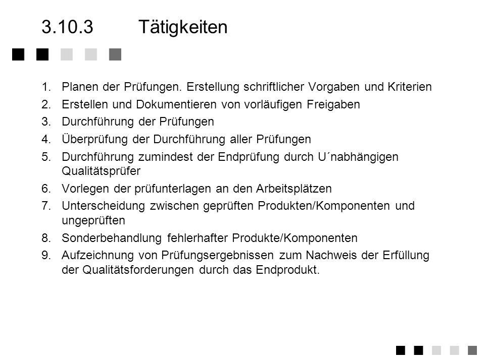 3.10.2Anforderungen der Norm Planung von Eingangs-, Zwischen- und Endprüfungen Erstellen von Prüfanweisungen, Prüf- bzw. Testlisten Durchführung der P