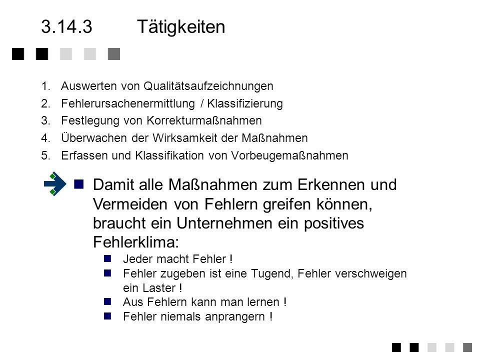 3.14.2Anforderungen der Norm Systematische Erfassung aller Fehler und Ermittlung der Fehlerursachen Sofern Zulieferungen betroffen sind, den Lieferant