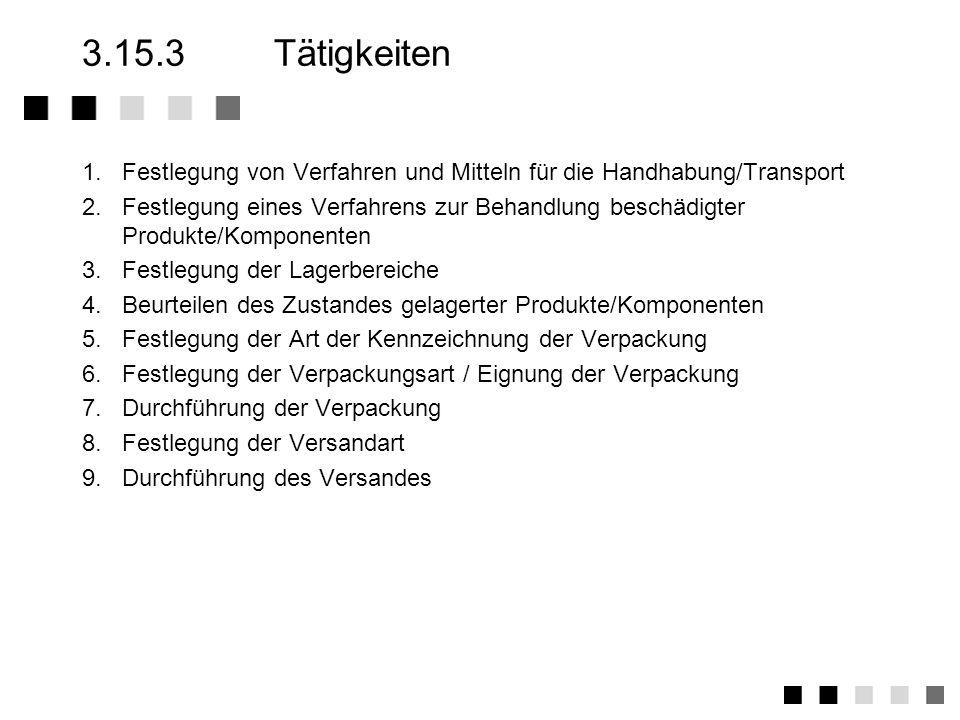 3.15.2Anforderungen der Norm Festlegung von Verfahren und Mitteln für die Handhabung von Produkten sowie deren innerbetrieblicher Transport (auch Date