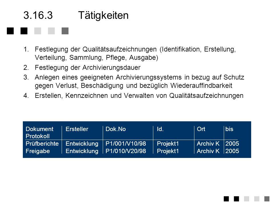 3.16.2Anforderungen der Norm Festlegung der erforderlichen Qualitätsaufzeichn. Festlegung der Verfahren für die Erstellung, Kenn- zeichnung, Verteilun