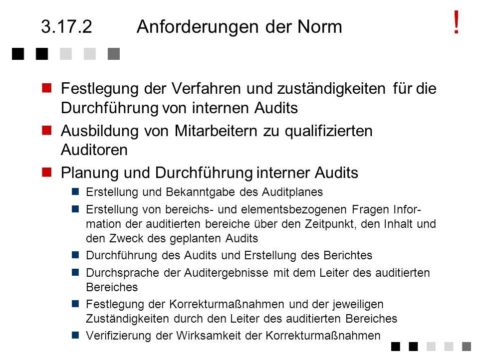 3.17.1Ziel und Inhalt Gewinnung von Information über den Ist-Zustand des Qualitätswesens und der Güte seiner Abwicklung. Beiträge zur kontinuierlichen