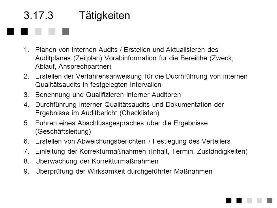 3.17.2Anforderungen der Norm Festlegung der Verfahren und zuständigkeiten für die Durchführung von internen Audits Ausbildung von Mitarbeitern zu qual
