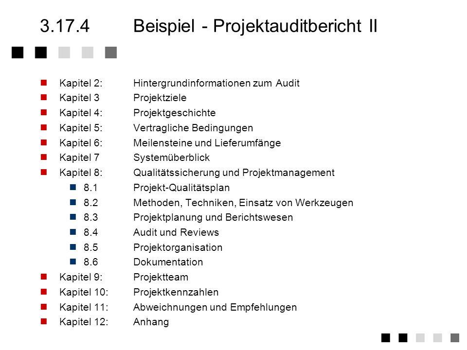 3.17.4Beispiel - Projektauditbericht I Kapitel 1:Zusammenfassung Dieses Kapitel ist die Zusammenfassung des gesamten Audiberichtes und muß folgende In