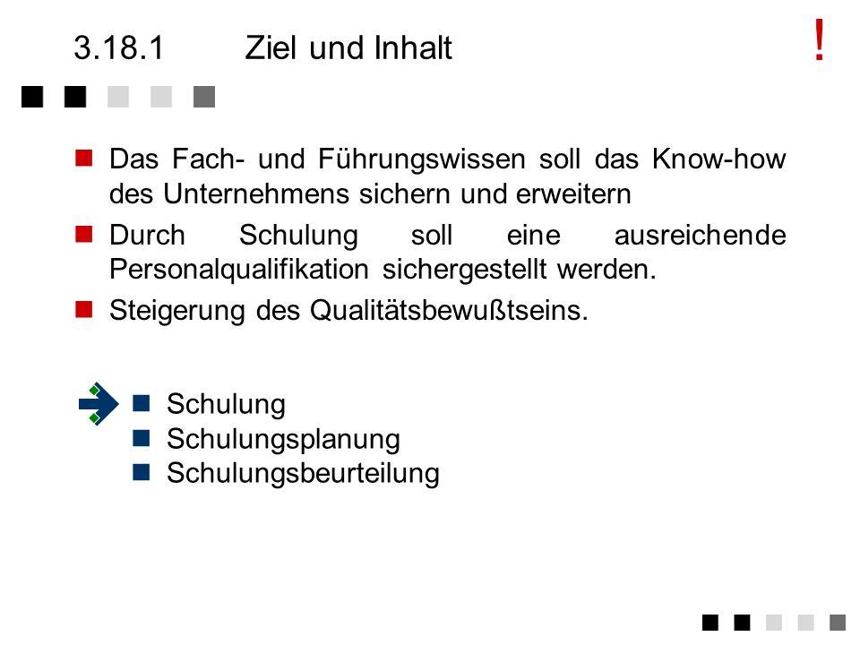 3.18Schulung Ziel und Inhalt Anforderungen der Norm Tätigkeiten Schulungsarten
