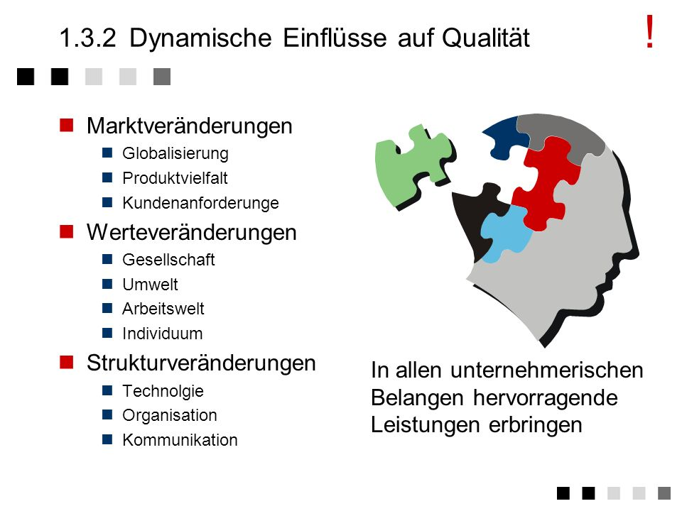 Produkte, Systeme, Prozesse, Dienstleistungen 1.3.1Statische Einflüsse auf Qualität Kundenerwartungen: hohe Zuverlässigkeit Servicefreundlichkeit zusä