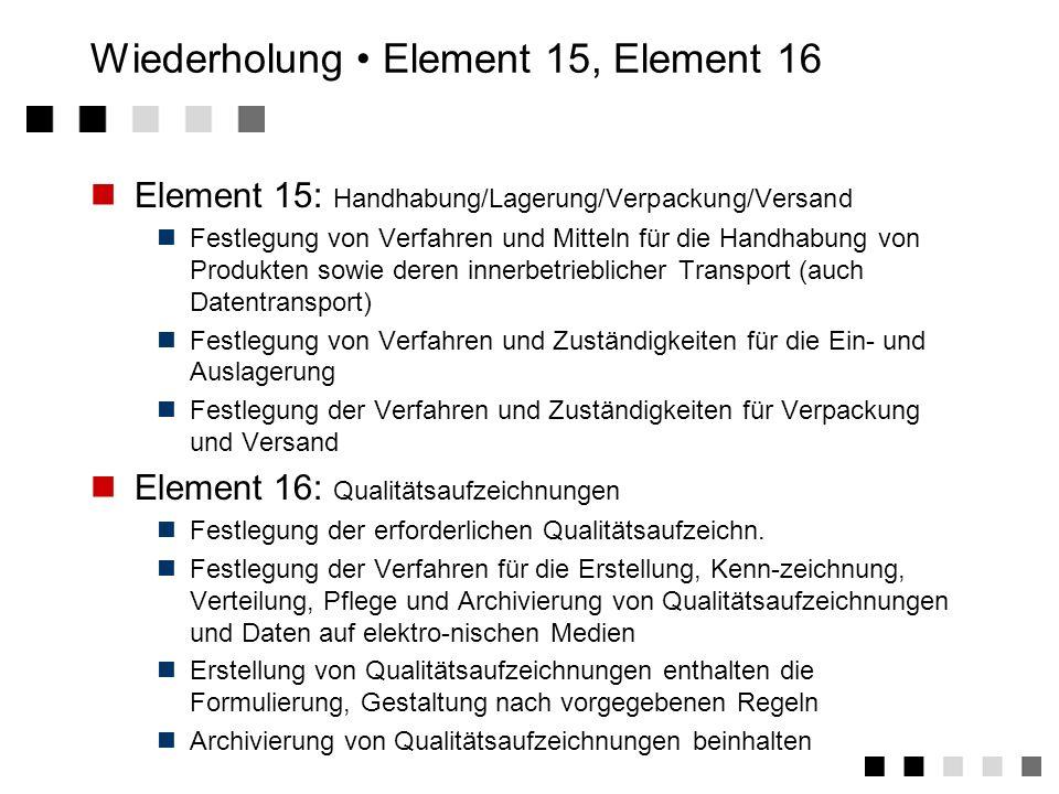 Wiederholung Element 1-14 1Verantwortung des Managements 2Grundsätze zum QM- System 3Vertragsprüfung 4Designlenkung 5Lenkung der Dokumentation 6Bescha