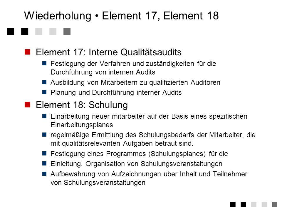 Wiederholung Element 15, Element 16 Element 15: Handhabung/Lagerung/Verpackung/Versand Festlegung von Verfahren und Mitteln für die Handhabung von Pro