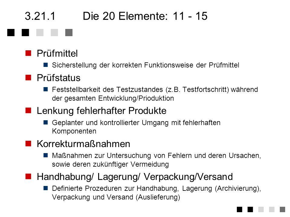 3.21.1Die 20 Elemente: 6 - 10 Beschaffung Sicherstellung der Qualität zugekaufter Komponenten bzw. Dienstleistungen Beistellungen Sicherstellung der Q