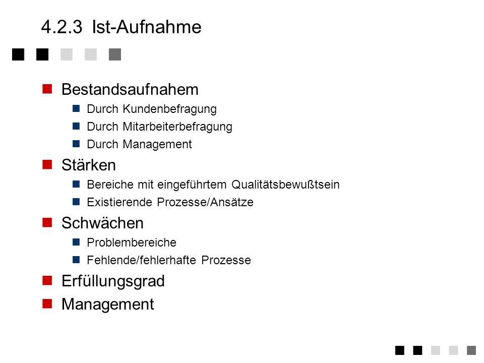 4.2.2Definition Grundsätzliches Modell (ISO900x) wählen Geltungsbereich Nur einzelne Abteilungen (typisch: nur Produktion) Gesamte Firma Einzelne Gesc