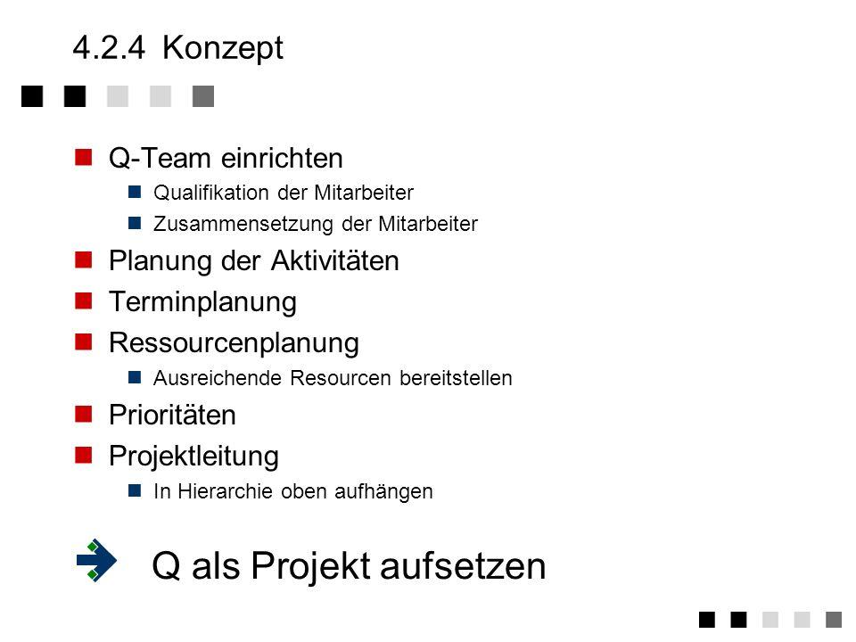 4.2.3Ist-Aufnahme Bestandsaufnahem Durch Kundenbefragung Durch Mitarbeiterbefragung Durch Management Stärken Bereiche mit eingeführtem Qualitätsbewußt