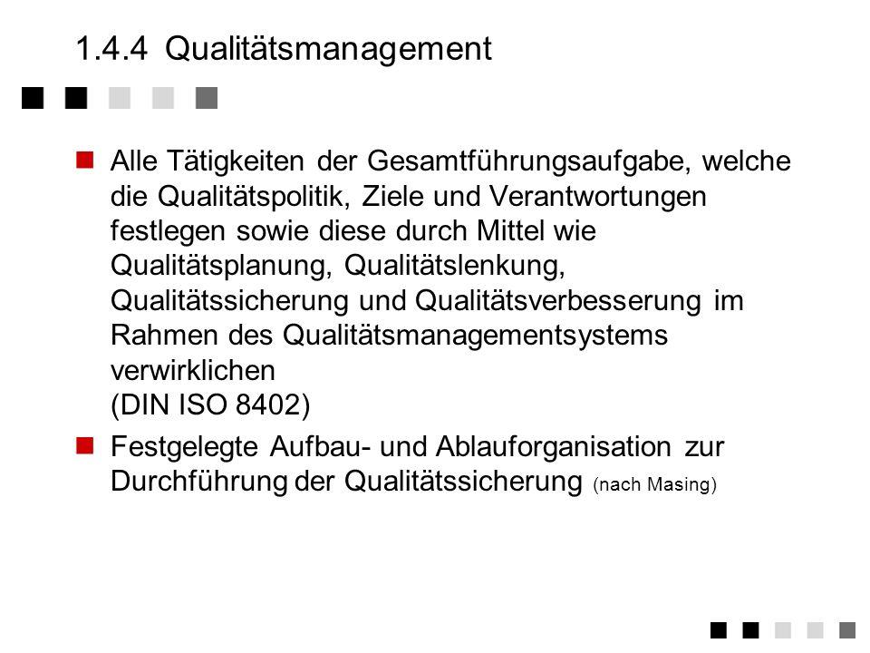 1.4.3Ablauf-/Aufbauorganisation Ablauforganisation Zeitliche und räumliche Anordnung von Handlungsvorgängen (nach Wöhe) Geschäftsführer HAL AL MA LQM