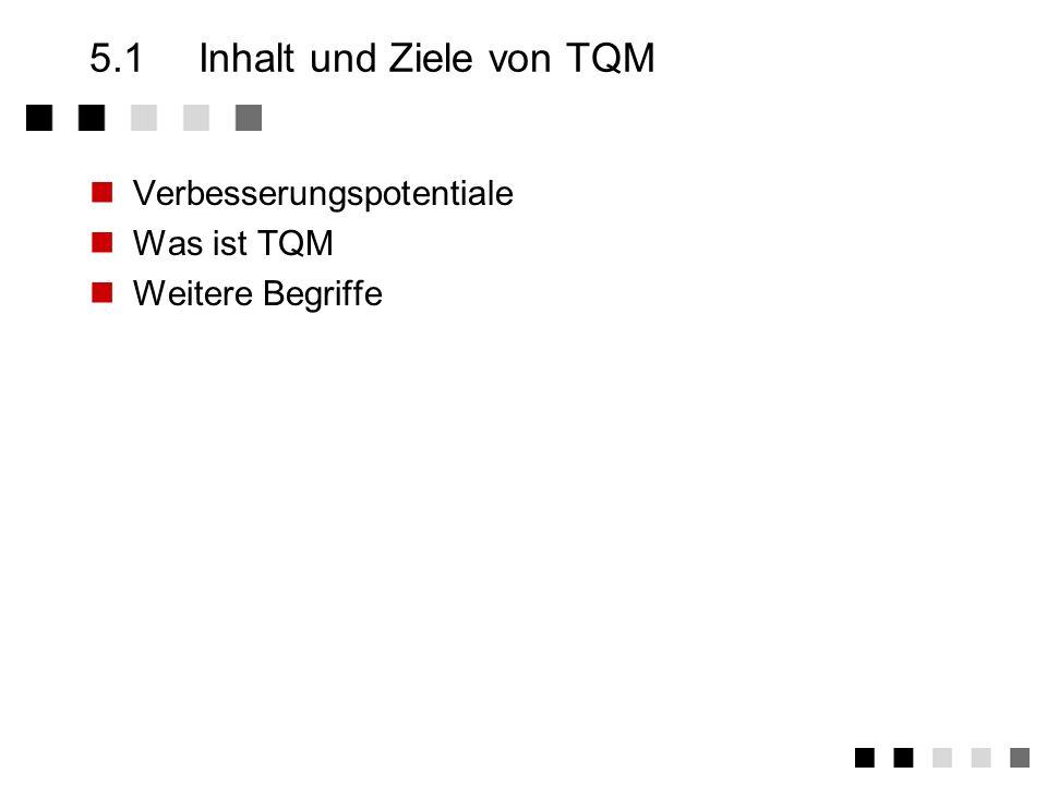 Kapitel 5TQM - Total Quality Management Was ist TQM Kunden und Prozesse Einordnung Zwei Ansätze Die Elemente eines TQM-Systems Der Weg zu TQM Ist-Stan