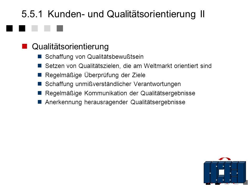 5.5.1Kunden- und Qualitätsorientierung I Kundenorientierung Was Qualität ist entscheidet der Kunde Sämtliche Produkt-/Dienstleistungsmerkmale, die aus