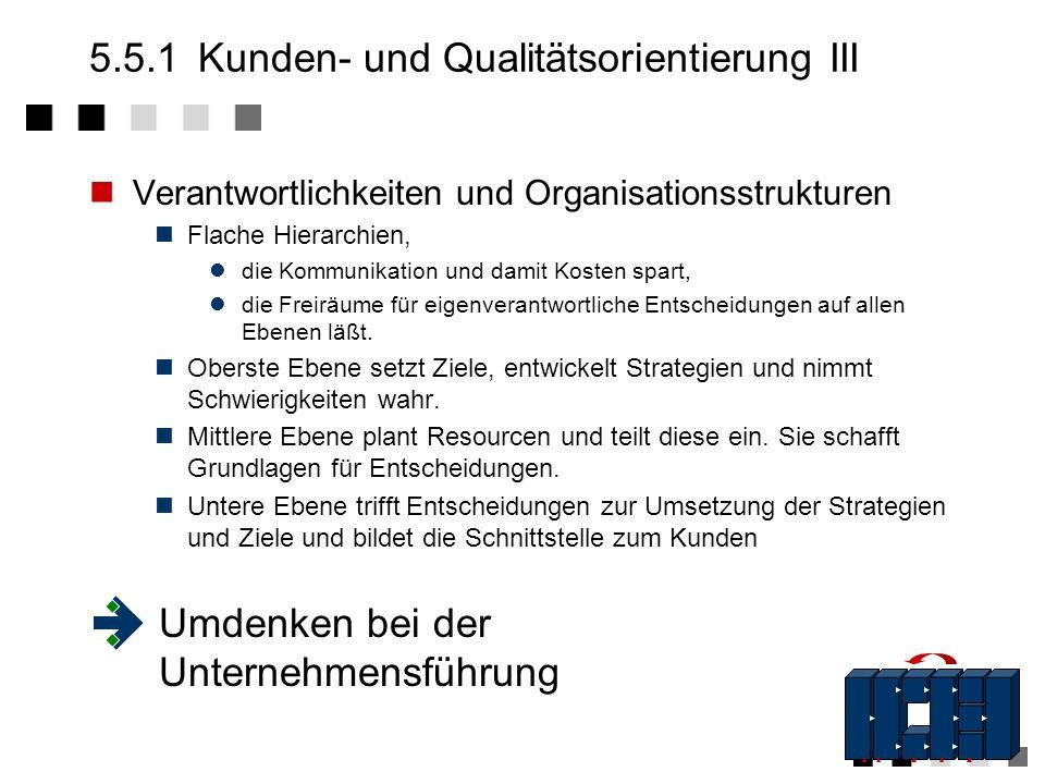 5.5.1Kunden- und Qualitätsorientierung II Qualitätsorientierung Schaffung von Qualitätsbewußtsein Setzen von Qualitätszielen, die am Weltmarkt orienti