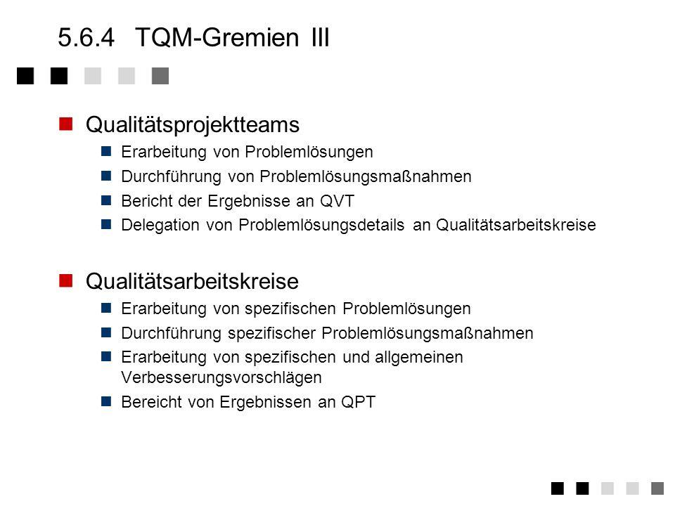 5.6.3TQM-Gremien II Qualitätsverbesserungsteams Ermittlung und Bewertung von Schwachstellen in übergeordneten Geschäfts- und Produktionsprozessen (z.B
