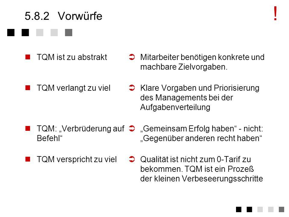 5.8.1 Probleme TQM ist kein Programm. Bei Erfolg wird TQM zur Lebensweise. Es bildet die Kultur des Unternehmens ab. Die meisten haben nicht erkannt,