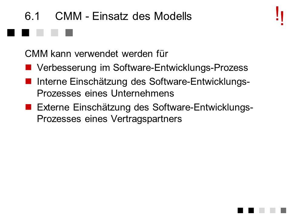 Kapitel 6CMM - Capability Maturity Model Einsatz des Modells Ziele von CMM Die Struktur von CMM Die 5 Levels Key Process Area Level 2 - Ein Beispiel E
