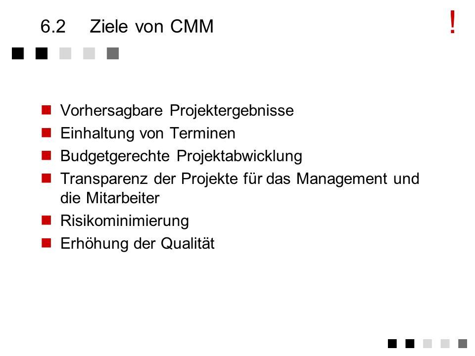 6.1CMM - Einsatz des Modells CMM kann verwendet werden für Verbesserung im Software-Entwicklungs-Prozess Interne Einschätzung des Software-Entwicklung