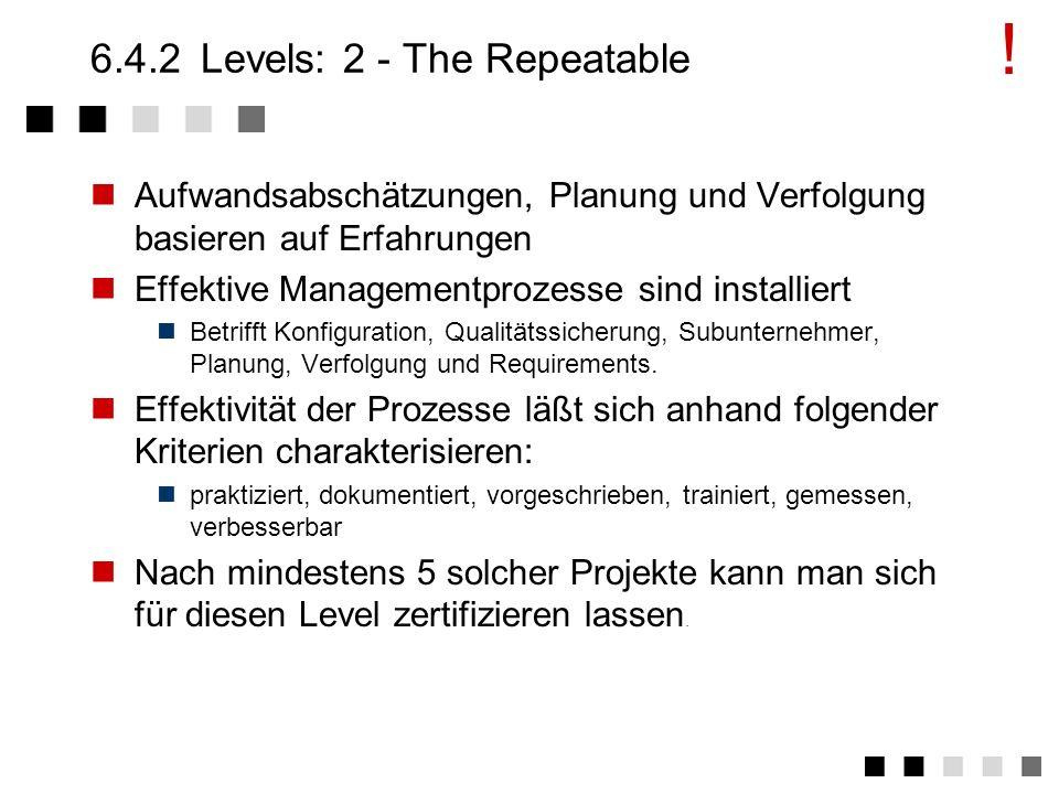 FHSymbol1 6.4.1Levels: 1 - The Initial Geplante Abläufe werden nicht eingehalten. Erfolg hängt von einem Projektleiter ab. Es kommt zu Kraftakten (Übe