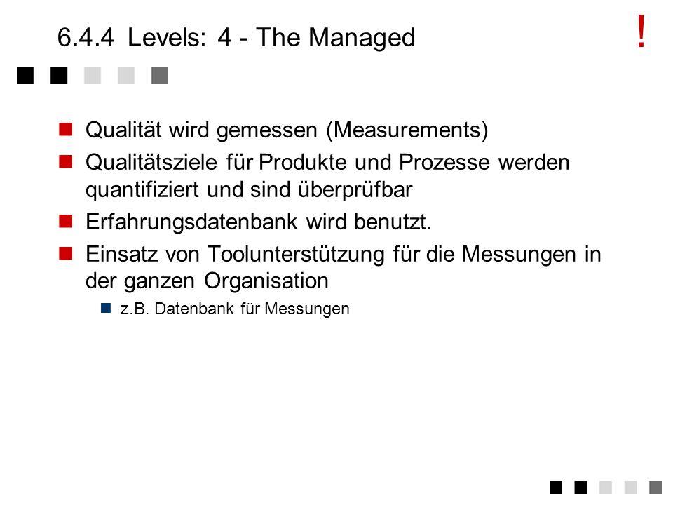 6.4.3Levels: 3 - The Defined Festlegen von Standardprozessen Zusammenfassung von in Level 2 häufig verwendeten und bewährten Verfahren. Dazu notwendig