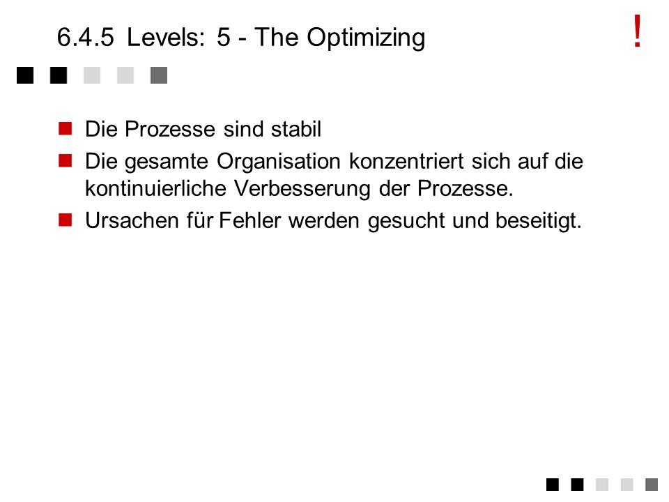 6.4.4Levels: 4 - The Managed Qualität wird gemessen (Measurements) Qualitätsziele für Produkte und Prozesse werden quantifiziert und sind überprüfbar