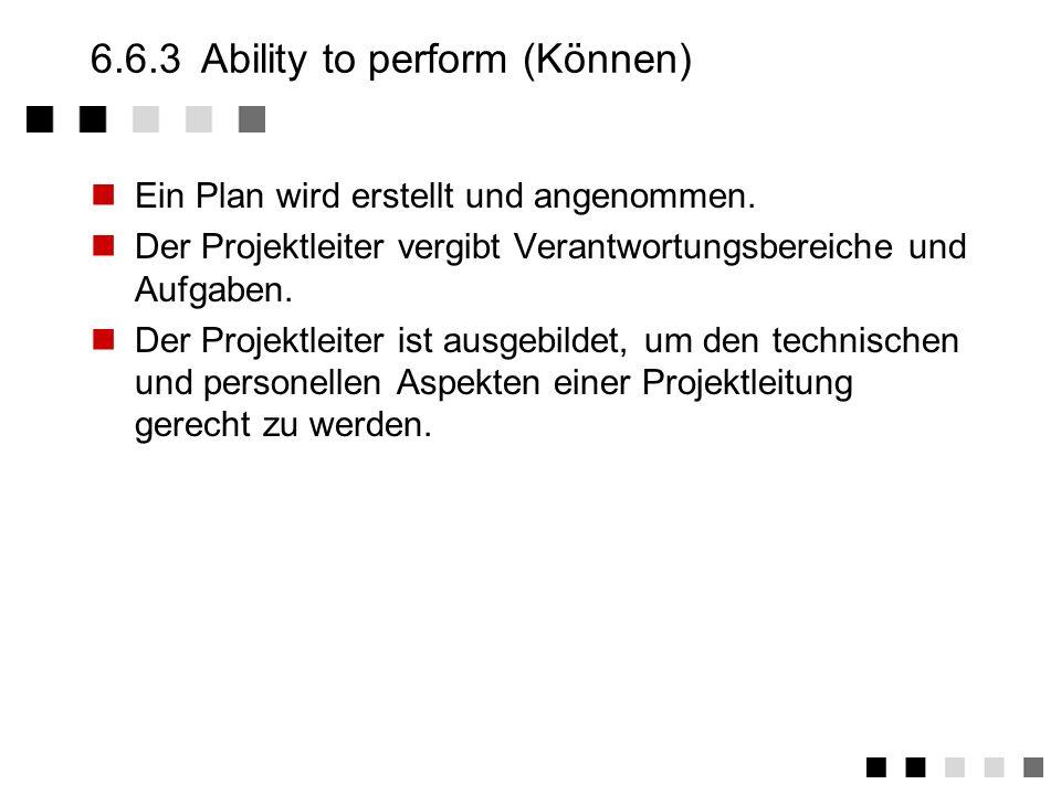 6.6.2Commitment (Wollen) Ein Projektleiter wird ernannt und ist verantwortlich für das Projekt. Eine organisationsweite Vorschrift für das Projektmana