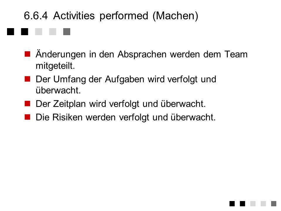6.6.3Ability to perform (Können) Ein Plan wird erstellt und angenommen. Der Projektleiter vergibt Verantwortungsbereiche und Aufgaben. Der Projektleit