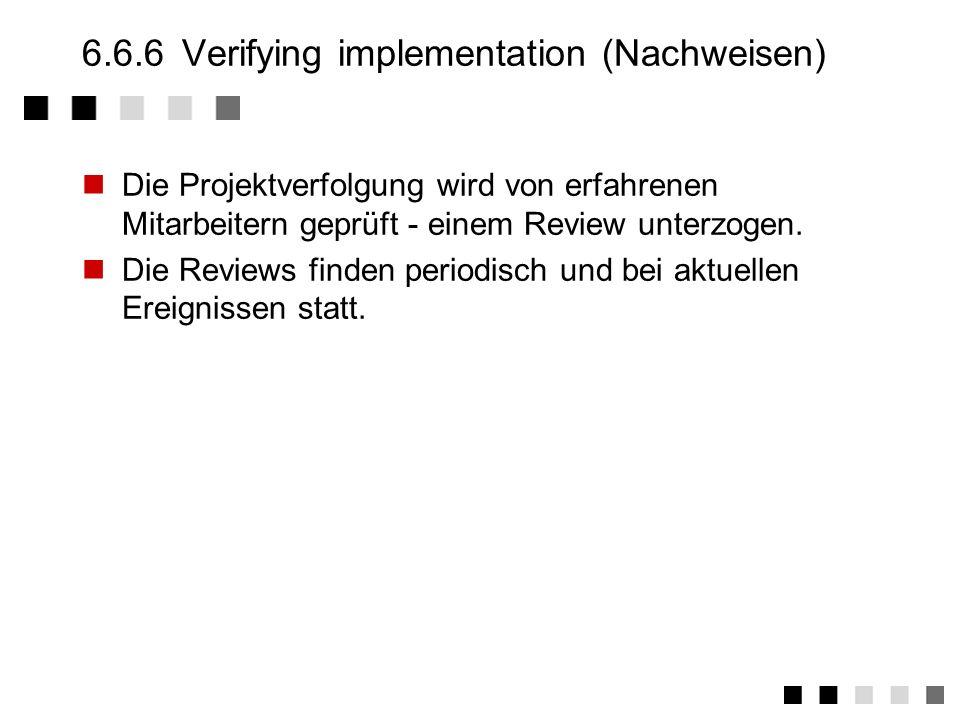 6.6.5Measurement and analysis (Messen) Messungen werden gemacht, um den Stand des Projektes zu ermitteln. Neue Aufwendungen werden in der Verfolgung e