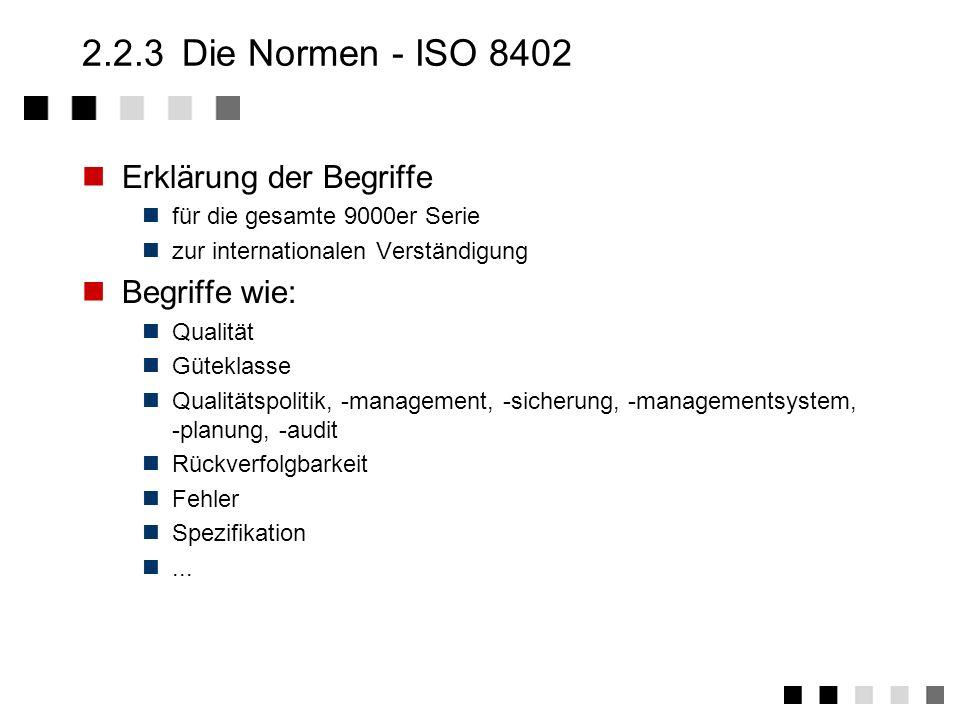 2.2.2 Die Normen - Allgemeine Einteilung Begriffe Leitfaden für Audits Forderungen an Messmittel Leitfaden für QM-Handbücher Wirtschaftliche Auswirkun