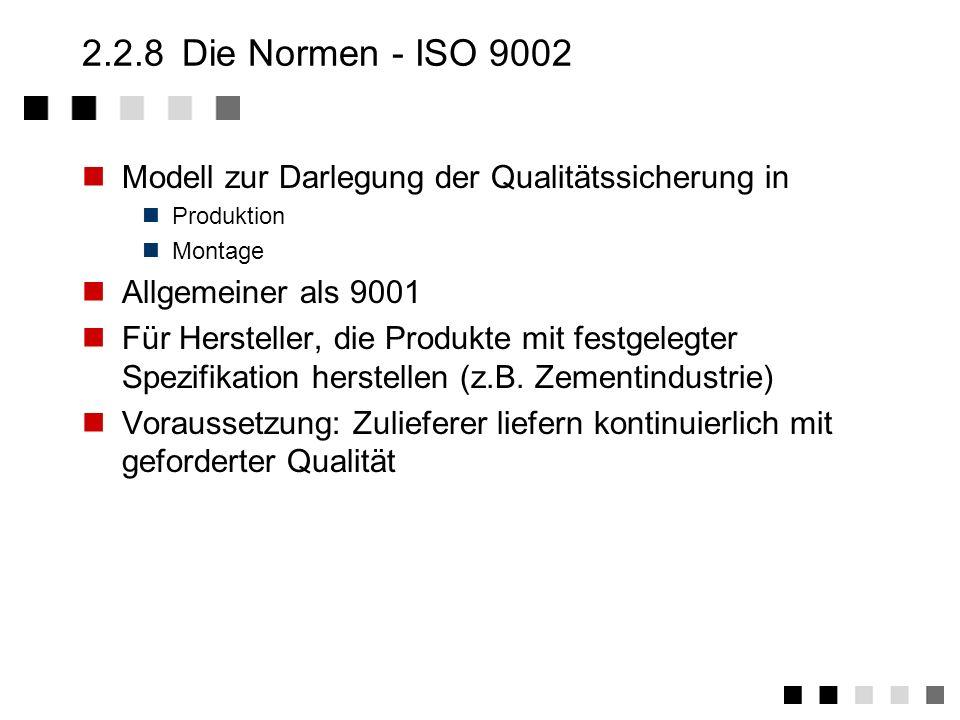 2.2.7 Die Normen - ISO 9001 Modell zur Darlegung der Qualitätssicherung in Design/Entwicklung Produktion Montage Kundendienst Dienstleistung Hardware