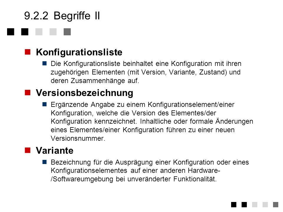 9.2.2Begriffe I Konfiguration Eine Konfiguration ist eine Menge von Design- und Entwicklungs- ergebnissen sowie Hilfsmitteln (wie z.B. Dokumente, Soft