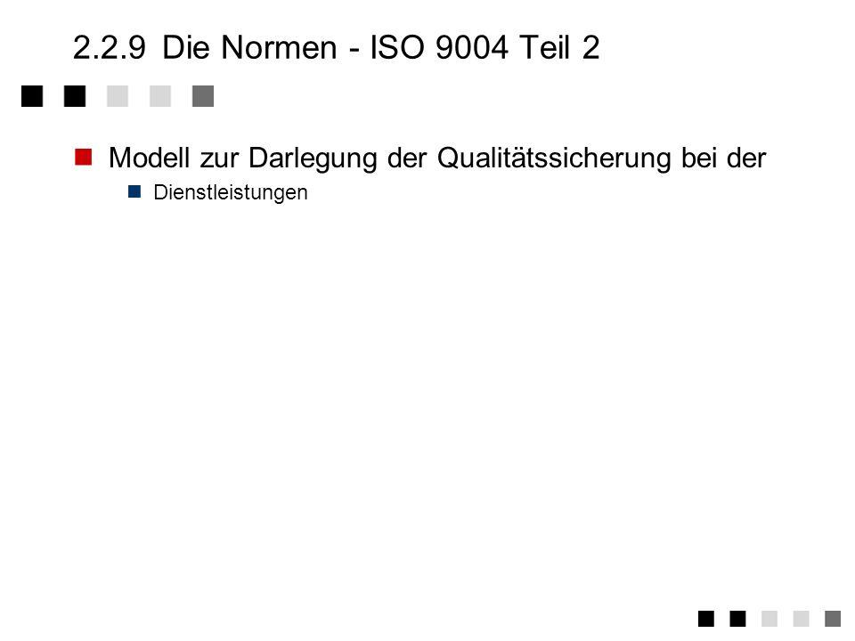 2.2.9Die Normen - ISO 9003 Modell zur Darlegung der Qualitätssicherung bei der Endprüfung Zuverlässige Erkennung von Produktfehlern durch eine Endprüf
