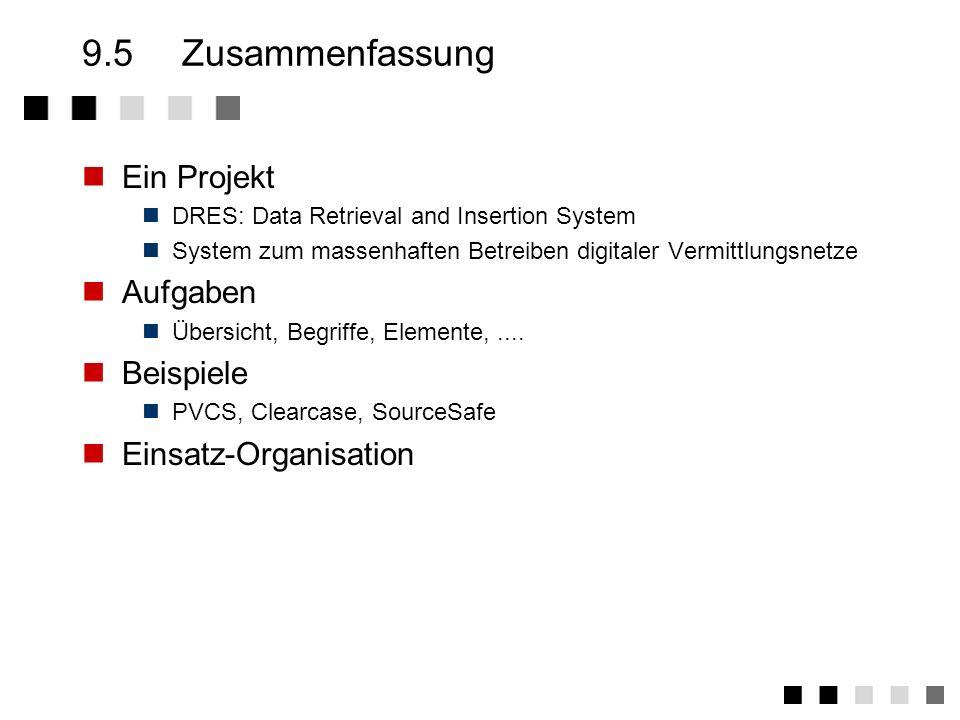 9.4Einsatz-Organisation Erstellen Konfigurationsmanagementplan Aufgabe des Projektleiters zusammen mit dem Qualitätsweses Einrichten Konfigurationsman