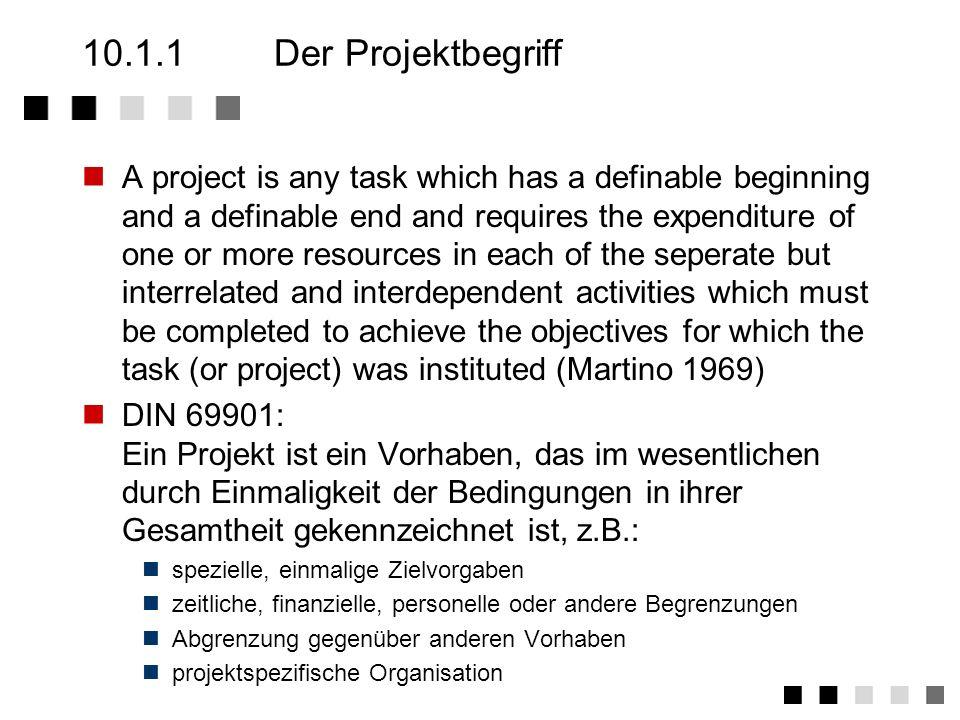 10.1Das Projekt Der Projektbegriff Die Projektphasen Projektplanung Hauptphase der Projektplanung Projektplanungsinstrumente Projektorganisation Proje