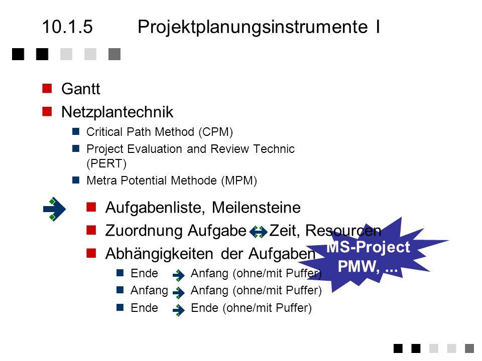10.1.4Hauptphase der Projektplanung Strukturplanung Vorgangsliste: Auflistung aller Aufgaben eines Projektes Netzplan: Graphische Darstellung aller Ab