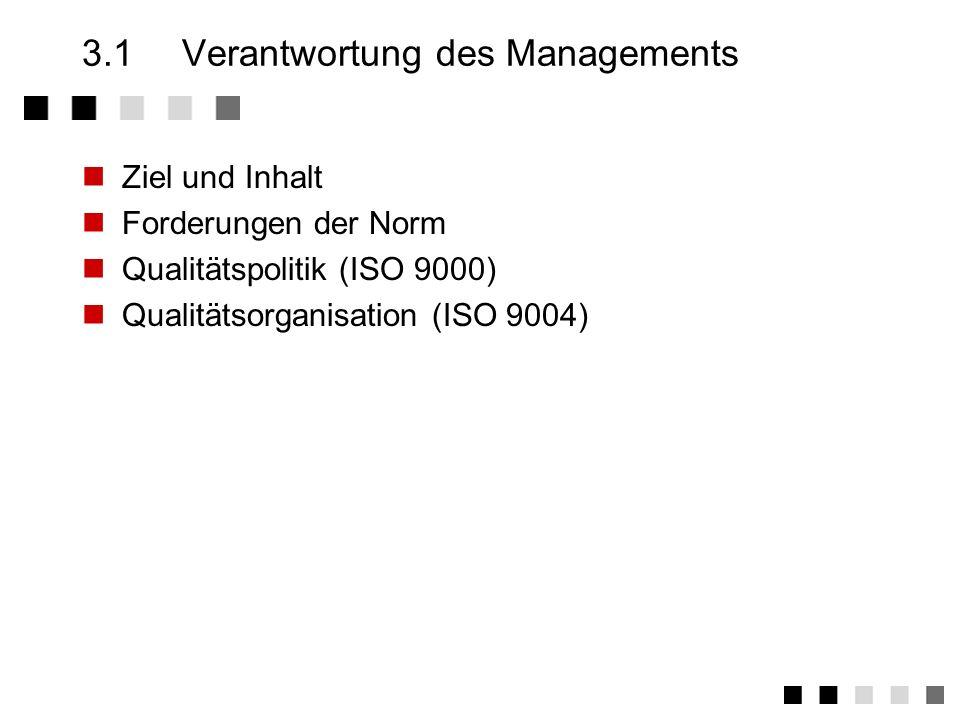 Kapitel 3 ISO 9001 Die 20 Elemente 2.3.1Verantwortung des Managements 2.3.2Grundsätze zum QM-System 2.3.3Vertragsprüfung 2.3.4Designlenkung 2.3.5Lenku