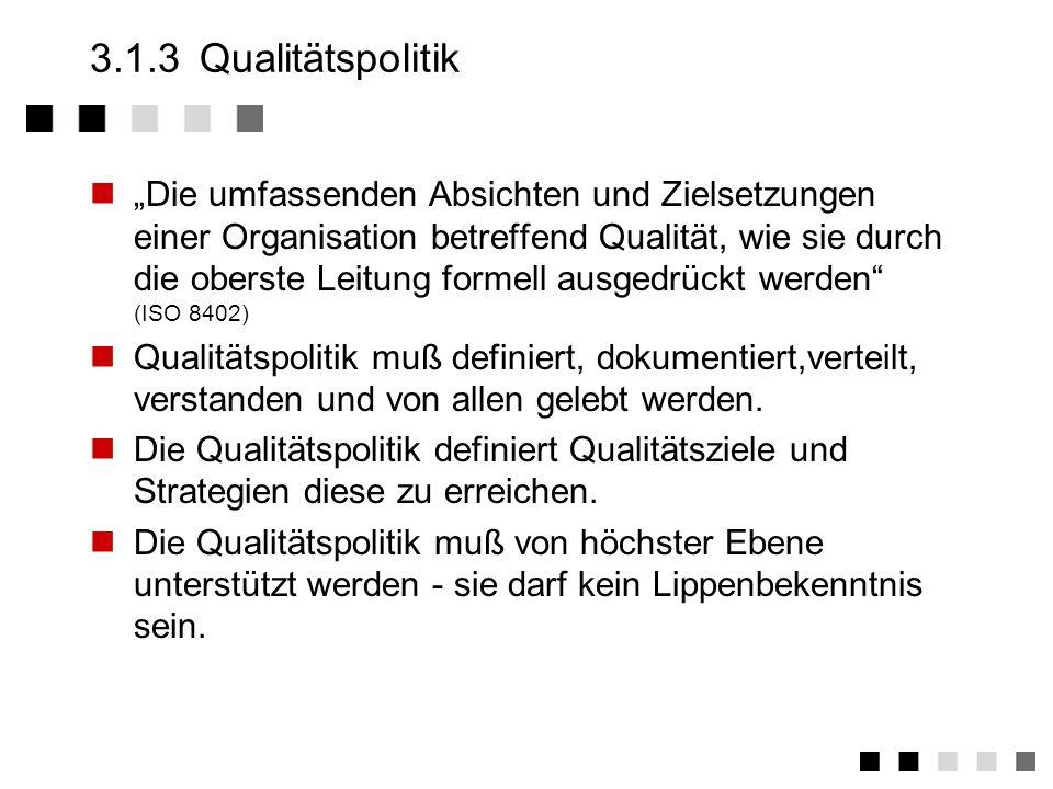 3.1.2Anforderungen der Norm Festlegung, Dokumentation und Bekanntmachung der Qualitätspolitik Beschreibung von relevanten Qualitätszielen Verpflichtun