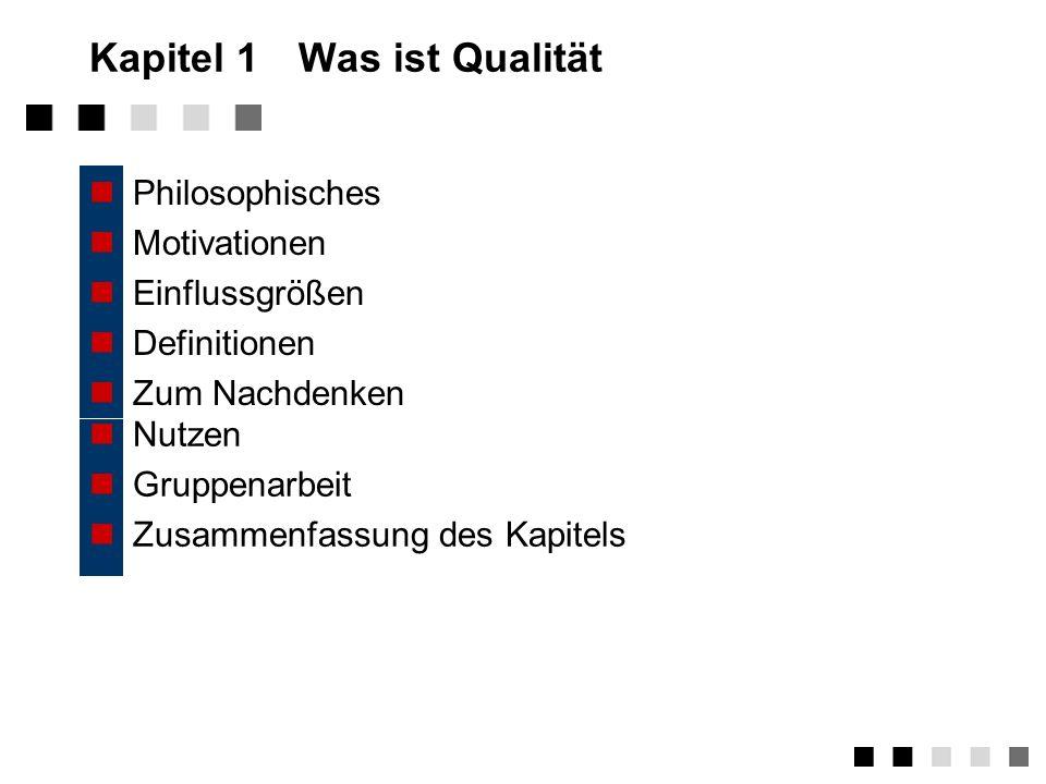Kapitel 1Was ist Qualität Philosophisches Motivationen Einflussgrößen Definitionen Zum Nachdenken Nutzen Gruppenarbeit Zusammenfassung des Kapitels