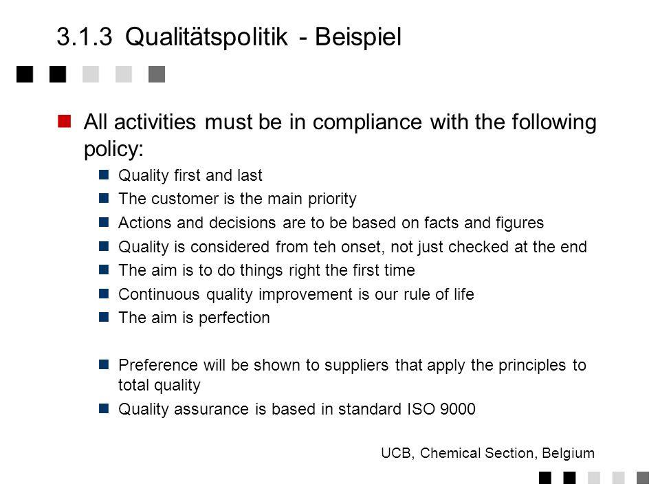 3.1.3Qualitätspolitik - Fragen Was ist der Zweck unseres Unternehmens, welche generellen Unternehmensziele haben wir ? Warum hat Qualität darin eine s