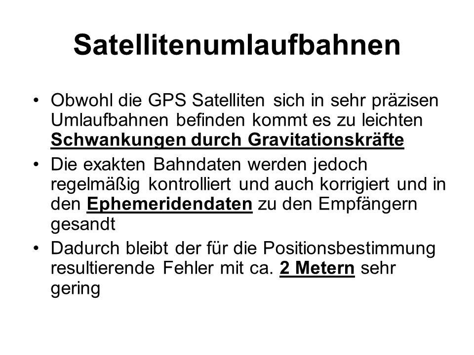 Satellitenumlaufbahnen Obwohl die GPS Satelliten sich in sehr präzisen Umlaufbahnen befinden kommt es zu leichten Schwankungen durch Gravitationskräft