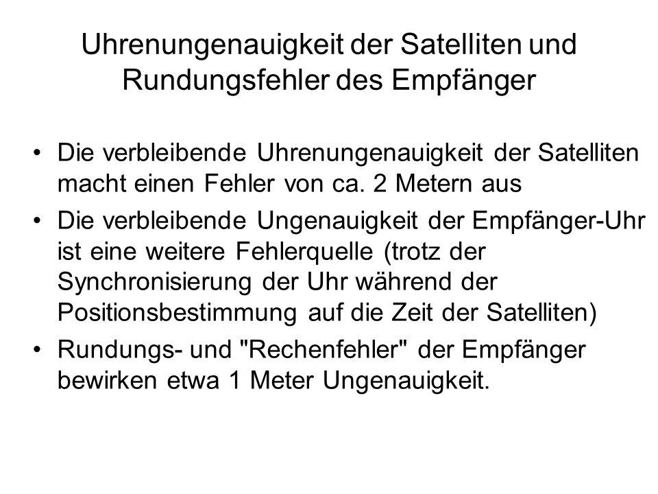 Uhrenungenauigkeit der Satelliten und Rundungsfehler des Empfänger Die verbleibende Uhrenungenauigkeit der Satelliten macht einen Fehler von ca. 2 Met